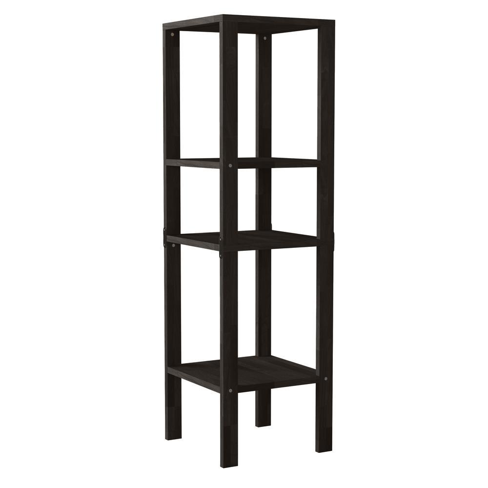 Freemont 47.2 in. Dark Espresso Solid Wood 3 -Shelf Convertible Narrow Bookcase Shelving Unit