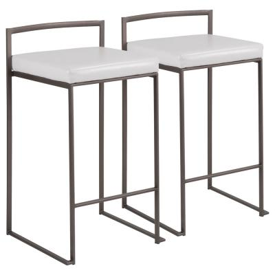 Fuji 26 in. Antique Stackable Counter Stool with White Faux Leather Cushion (Set of 2)