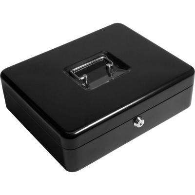 0.12 cu. ft. Steel Cash Box and Coin Tray Safe with Key Lock, Black