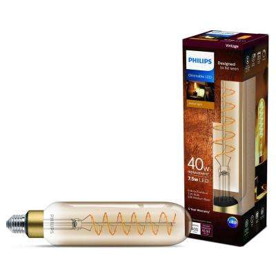 40-Watt Equivalent T20 Dimmable LED Large Light Bulb Vintage Amber Glass