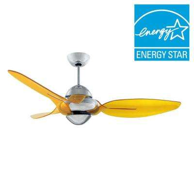 Clover 54 in. Indoor Chrome Ceiling Fan with 3 Translucent Yellow Blades