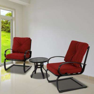 3-Piece Metal Patio Conversation Set with Red Cushion