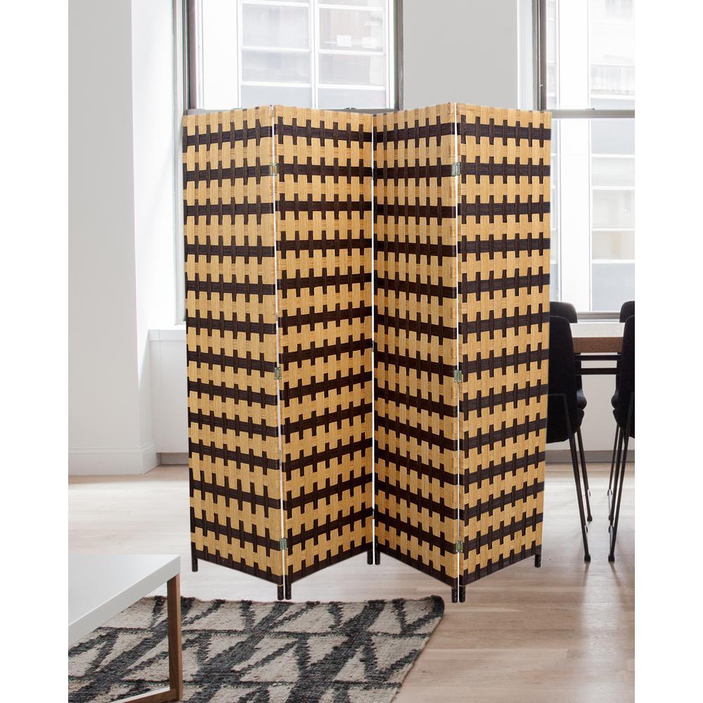 Handcrafted Espresso//Light Brown 4-Panel Folding Room Divider Vintage 5.9 ft