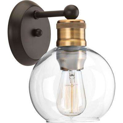 Hansford Collection 1-Light Antique Bronze Bath Sconce with Clear Globe Shade