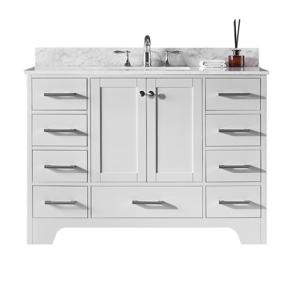 Clariette 48 in. W x 22 in. D x 34.21 in. H Bath Vanity in White with Marble Vanity Top in White with White Basin