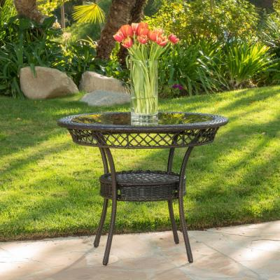 Zayd Multi Brown Circular Wicker Outdoor Bistro Table with Glass Top