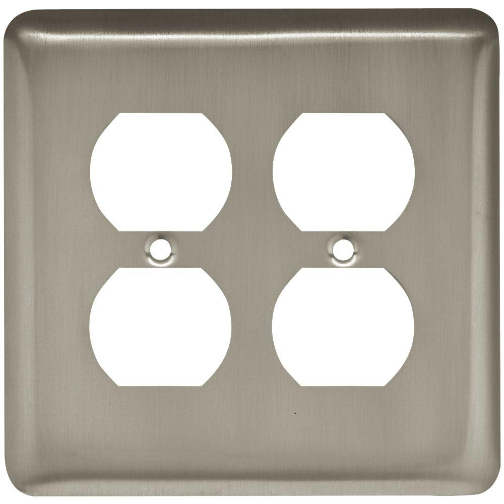 Liberty Stamped Round Decorative Double Duplex Outlet Cover Satin