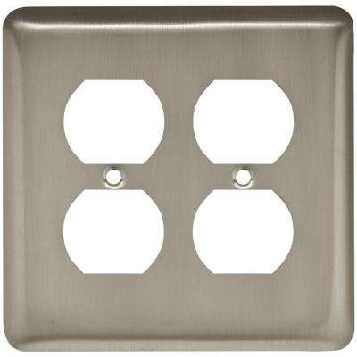 Stamped Round Decorative Double Duplex Outlet Cover, Satin Nickel