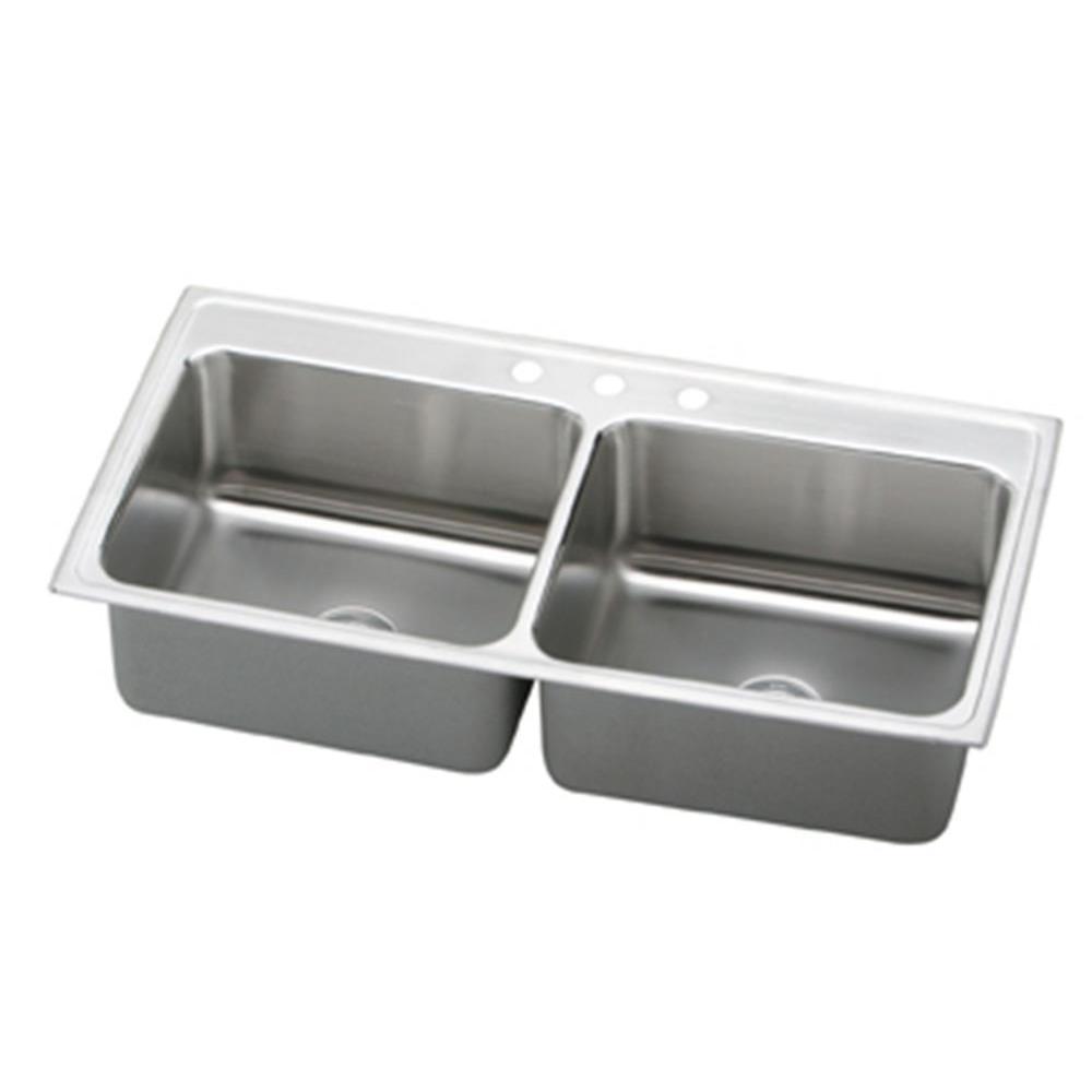 Elkay Lustertone Drop-In Stainless Steel (Silver) 43 in. ...