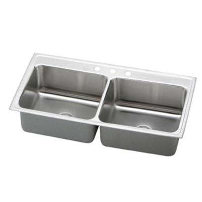 Lustertone Drop-In Stainless Steel 43 in. 3-Hole Double Bowl Kitchen Sink