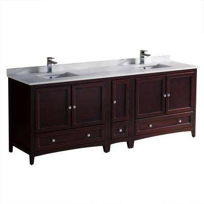 Oxford 84 in. Double Vanity in Mahogany with Quartz Stone Vanity Top in White with White Basins with Side Cabinet