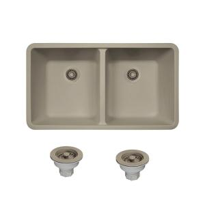 All In One Undermount Composite 33 In. Double Basin Kitchen Sink In Slate