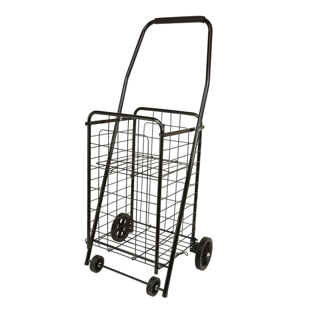 Black Metal Cleaning Cart with Pop N Shop Shopping Shelf
