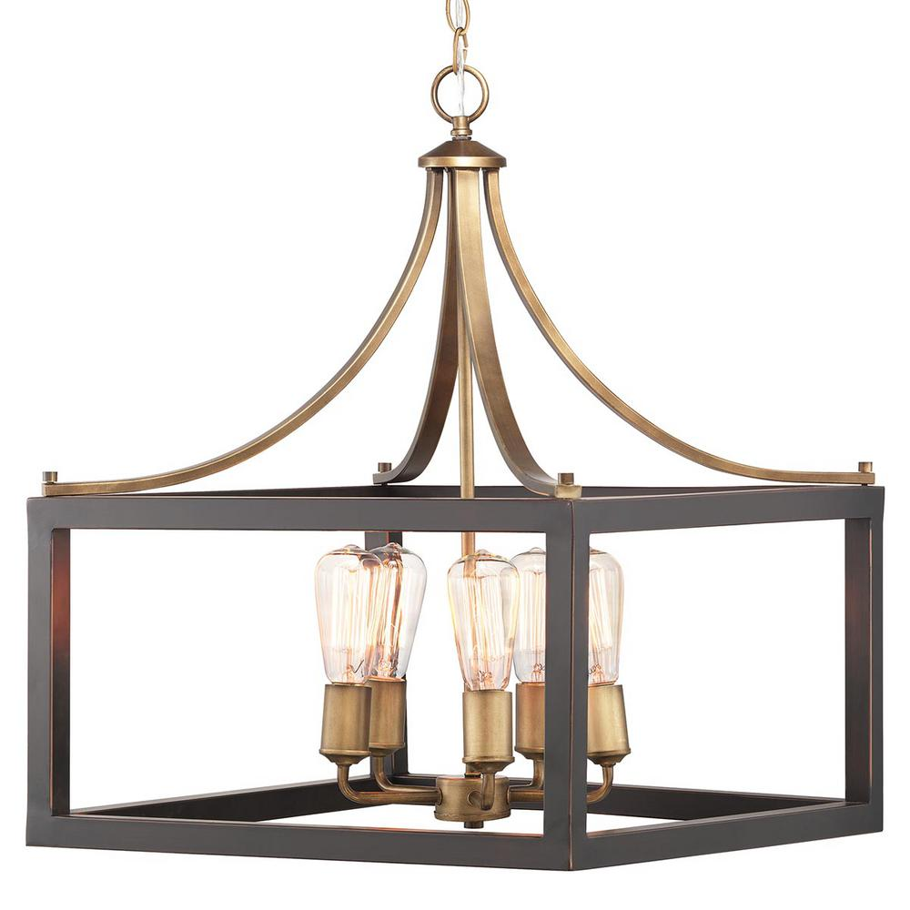 Home Decorators Collection Boswell Quarter Collection 5-Light Vintage Brass Chandelier with Painted Black Distressed Wood Accents