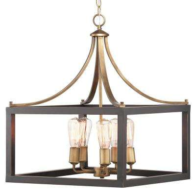 Boswell Quarter Collection 5-Light Vintage Brass Pendant with Painted Black Distressed Wood Accents