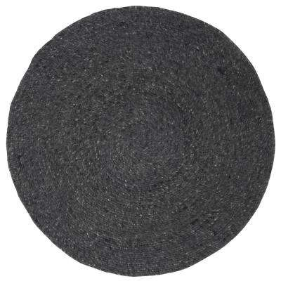Braided Black 3 ft. x 3 ft. Round Area Rug