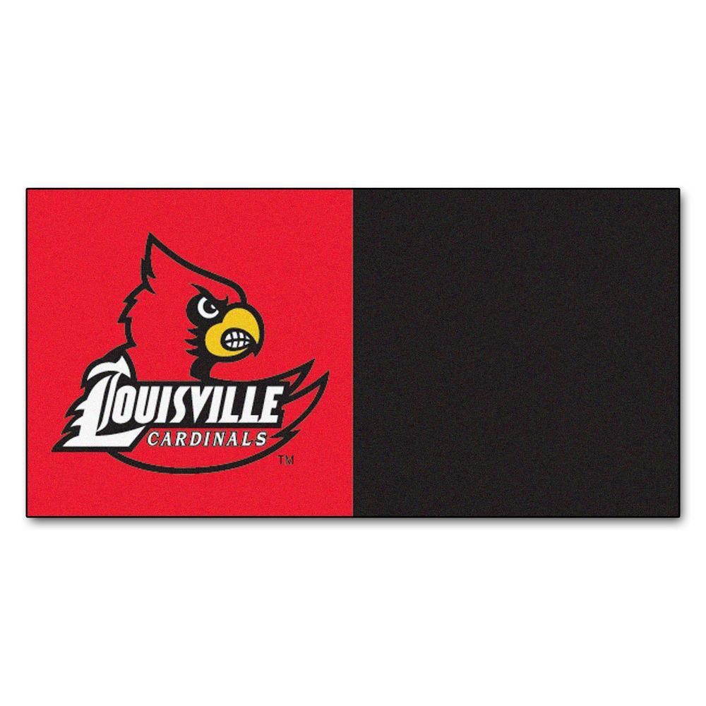 FANMATS NCAA - University of Louisville Red and Black Nylon 18 in. x 18 in. Carpet Tile (20 Tiles/Case)