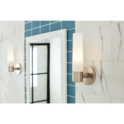 Arla 1-Light Brushed Nickel Sconce with Tube Etched Glass