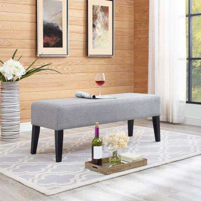 Connect Upholstered Fabric Bench in Light Gray