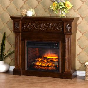 Dunkirk 44.5 inch W Carved Infrared Electric Fireplace in Espresso by Electric Fireplaces