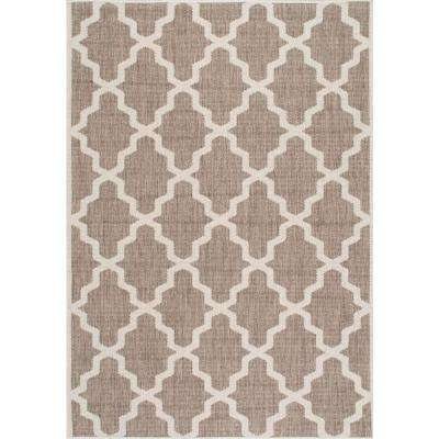 Gina Moroccan Trellis Taupe 7 ft. 6 in. x 10 ft. 9 in. Outdoor Area Rug
