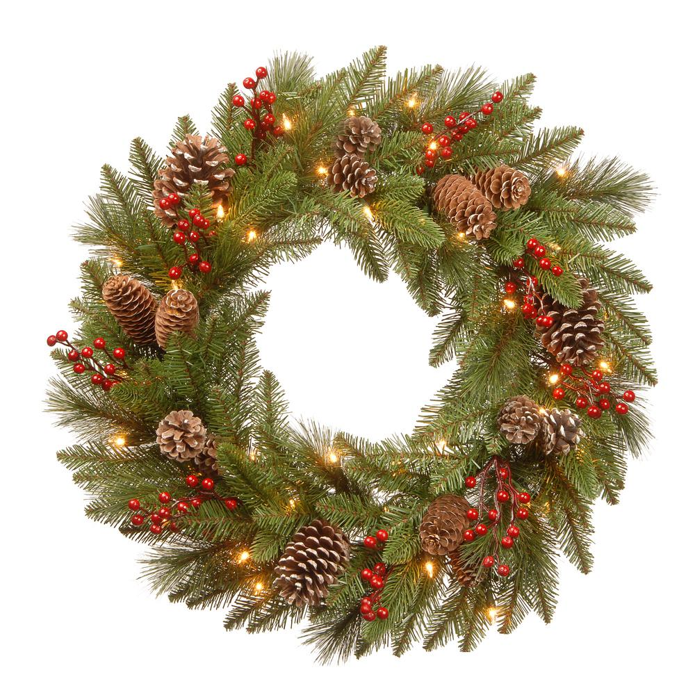 24 in. Battery Operated Feel Real Bristle Berry Wreath with Red
