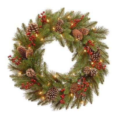 24 in. Battery Operated Feel Real Bristle Berry Wreath with Red Berries, Cones and 50 Warm White LED Lights with Timer