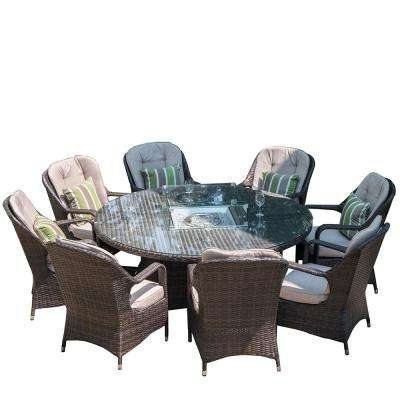 Jade 70 in. x 70 in. x 27 in. Round Brown Wicker Outdoor Gas Fir Pit Table with Chairs