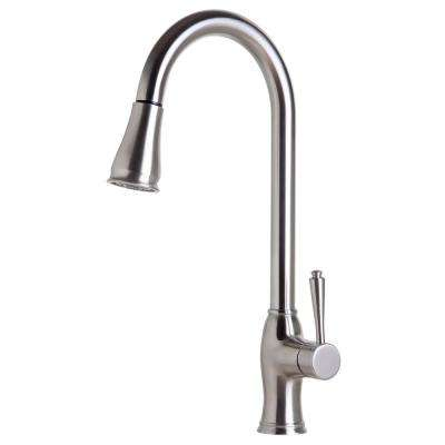 Single-Handle Pull-Down Sprayer Kitchen Faucet in Brushed Stainless Steel