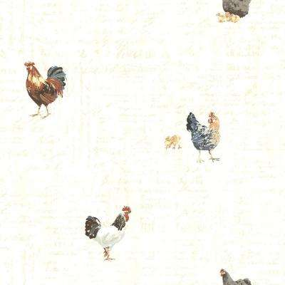Lisle Cream Roosters and Script Wallpaper