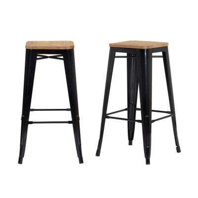 Finwick Black Metal Backless Bar Stool with Wood Seat (Set of 2) (16.93 in. W x 29.53 in. H)