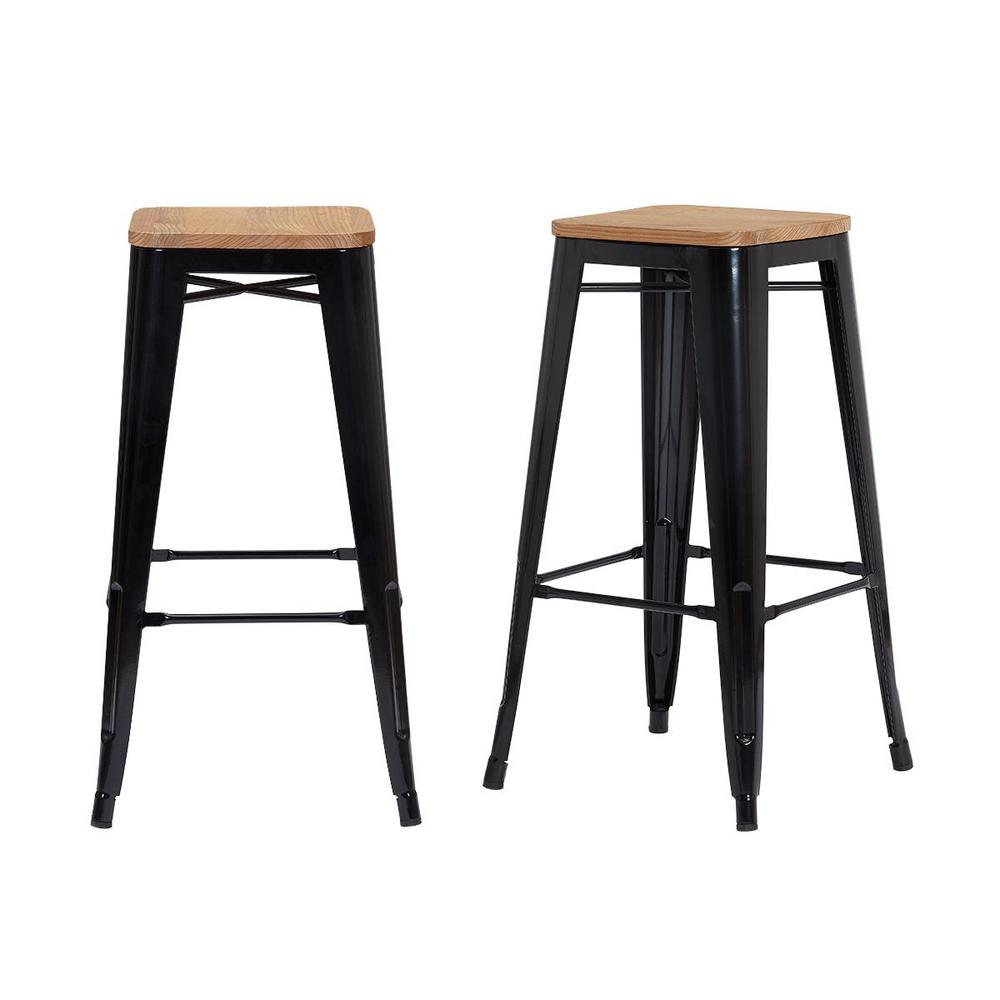 StyleWell Finwick Black Metal Backless Bar Stool with Wood Seat (Set of 2) (16.93 in. W x 29.53 in. H), Natural/Black was $129.0 now $77.4 (40.0% off)