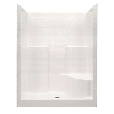 Everyday 60 in. x 36 in. x 79 in. 1-Piece Shower Stall with Right Seat and Center Drain in Bone