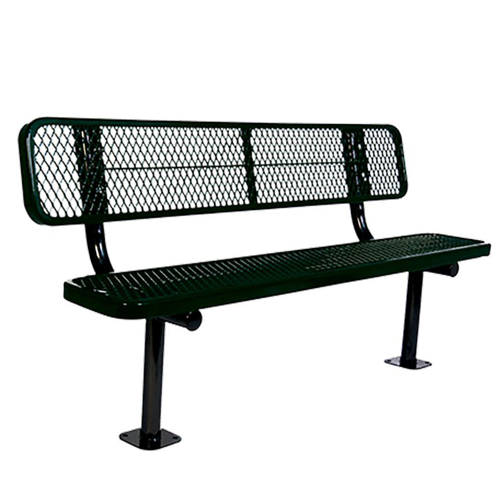 Surface Mount 8 ft. Black Diamond Commercial Park Bench with Back