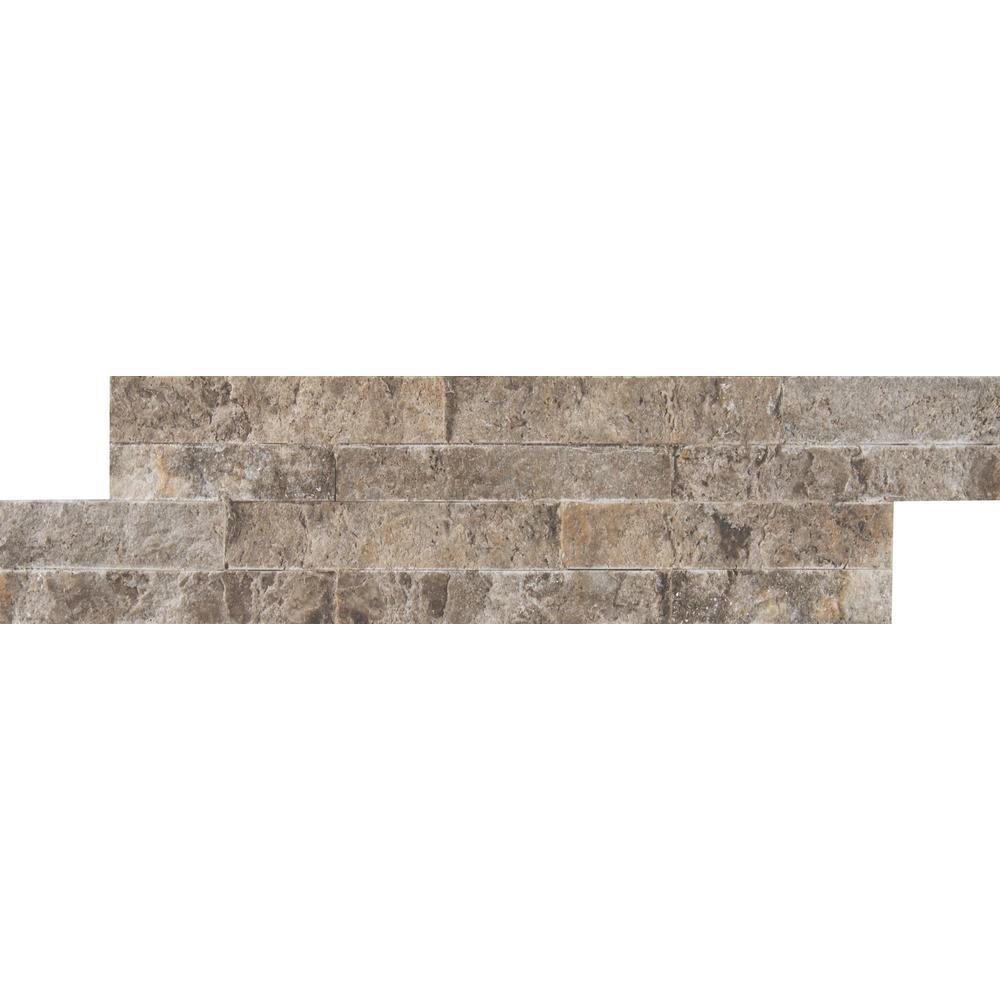 MSI Silver Travertine Mini Ledger Panel 4.5 in. x 16 in. Natural Travertine Wall Tile (5 sq. ft. / case)
