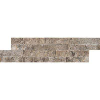 Silver Travertine Mini Ledger Panel 4.5 in. x 16 in. Natural Travertine Wall Tile (5 sq. ft. / case)