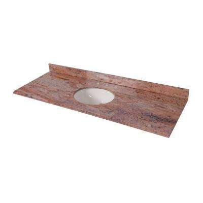 61 in. x 22 in. Stone Effects Vanity Top in Bordeaux with White Sink