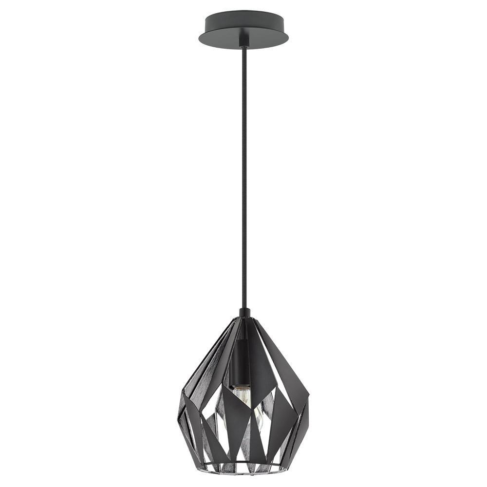 Eglo Carlton 3 1 Light Matte Black And Silver Pendant 202035a The Home Depot