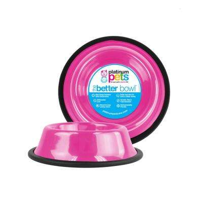 3.5 Cup Non-Tip Stainless Steel Dog Bowl, Bubble Gum Pink