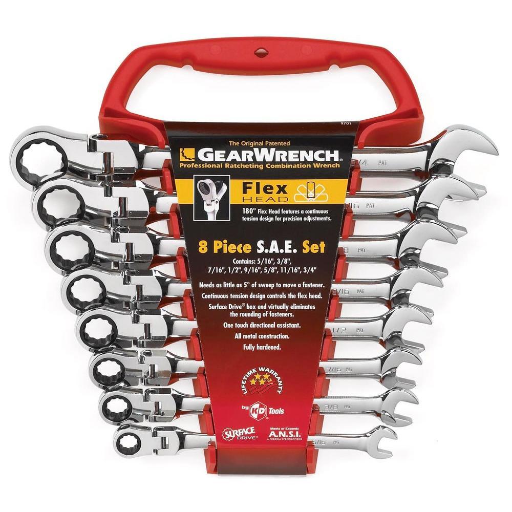 Metric Combination Ratcheting Wrench NEW GearWrench Flex Head SAE Any Size