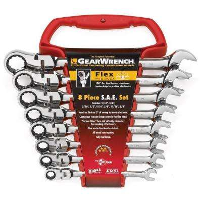SAE Flex Ratcheting Wrench Set (8 per Pack)
