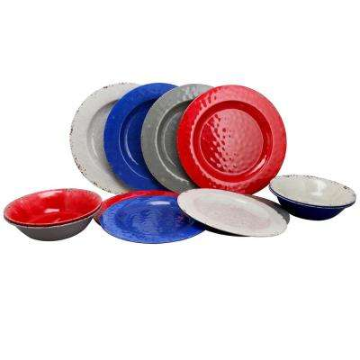 Mauna 12-Piece Assorted Colors Melamine Dinnerware Set