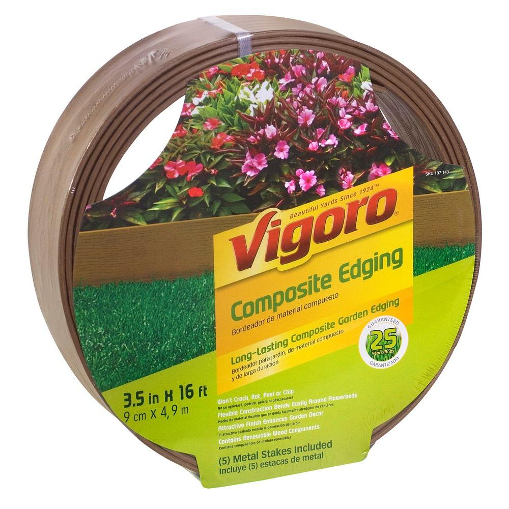 Vigoro 3.5 in. x 16 ft. Composite Brown Lawn and Garden Edging