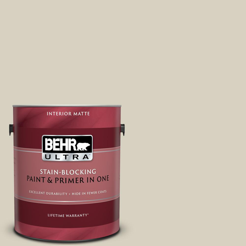 Behr Ultra 1 Gal Ppf 14 Traditional Tan Matte Interior Paint And Primer In One