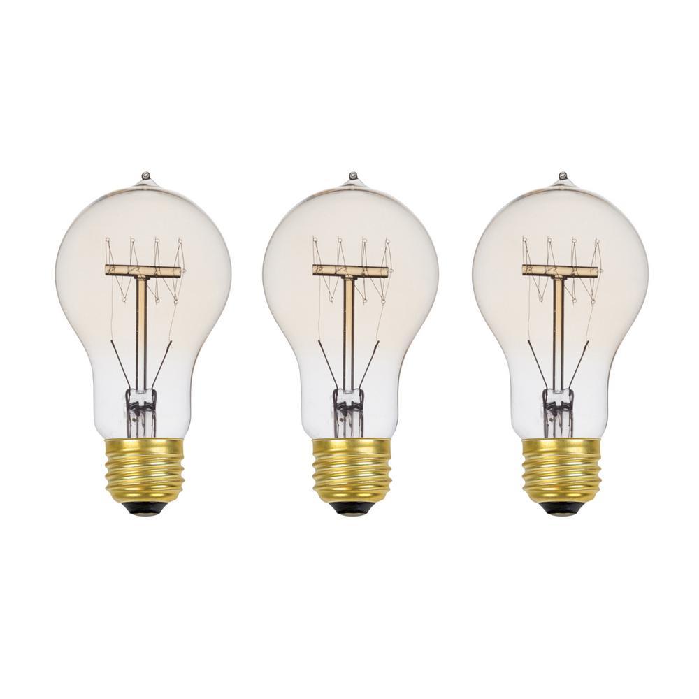 60-Watt Incandescent A19 Vintage Quad Loop Medium Base Light Bulb - Vintage Style Light Bulb (3-Pack)