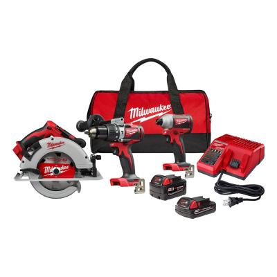 Cordless Brushless 3 Tool Combo Contractor Kit Ryobi P1837 18V One 9 pieces: Drill//Driver, Impact Driver, Circular Saw, 7-1//4 in Blade, Blade Wrench, Charger, 2.0 /& 3.0 Ah Batteries, Bag