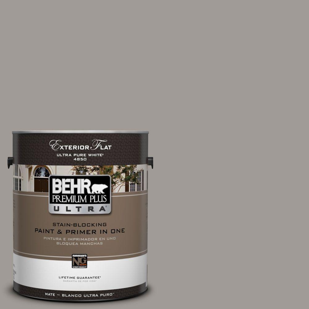 BEHR Premium Plus Ultra 1-Gal. #UL260-6 Fashion Gray Flat Exterior Paint