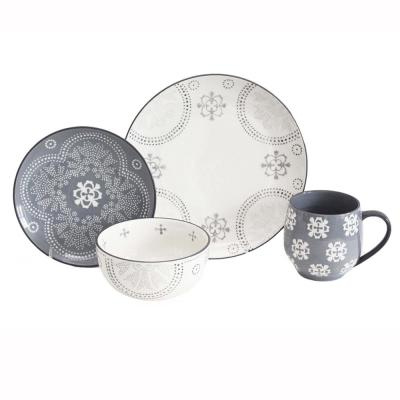 Phara 16-Piece Grey Dinnerware Set