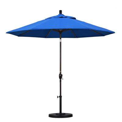 9 ft. Aluminum Push Tilt Patio Umbrella in Pacific Blue Olefin