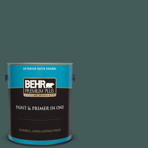 Behr Premium Plus 1 Gal Icc 86 New Hunter Satin Enamel Exterior Paint And Primer In One 934001 The Home Depot